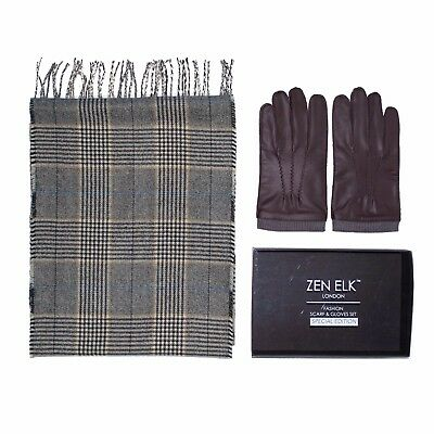 Men's Full-Pique Leather Gloves with Houndstooth Scarf Box Set