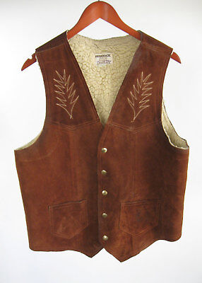 Distressed Ruddock Leathers Ranch Vest L Sherpa Lined Brown Western Sz Large