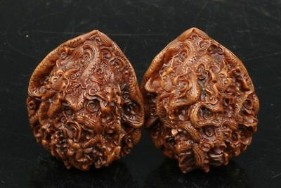 Chinese Exquisite Hand-carved Dragon carving walnut Handball