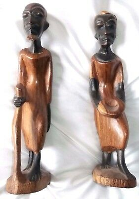 2 Hand Carved Wood Figures Man and Woman African Tribal Art