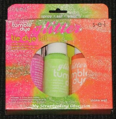 SEI 'TUMBLE DYE GLITTER TIE DYE KIT' 3pc Neon Colours (makes up to 12 shirts)