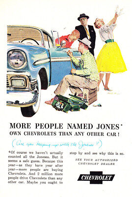 1957 Chevrolet: More People Named Jones Vintage Print Ad