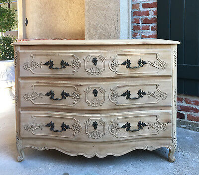 Antique French Carved Oak Louis XV Chest of Drawers Cabinet BLEACHED FINISH