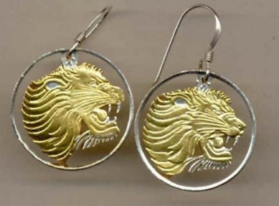 """Ethiopia 25 Cent """"Lion Head"""" Two Toned Coin Cut Out Earrings"""