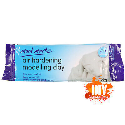 Mont Marte Air Hardening Modelling Clay White 2Kg 24hr Dry Fine Texture Smooth