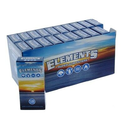 3x Packs ( Elements Super Slim Filter Tips ) 126x Per Pack Roll Papers