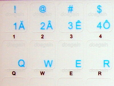VIETNAMESE TRANSPARENT Keyboard Stickers BLUE Letters Fast Free Postage