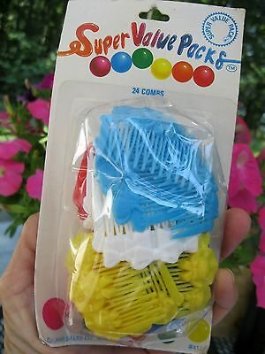 Vtg Nos 24 Almar Combs In Package 1987 Girls Red, White, Blue, Yellow & Pink