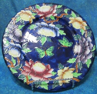 Large Maling Pottery Decorative Tubelined Cabinet Plate Butterflies & Peonies