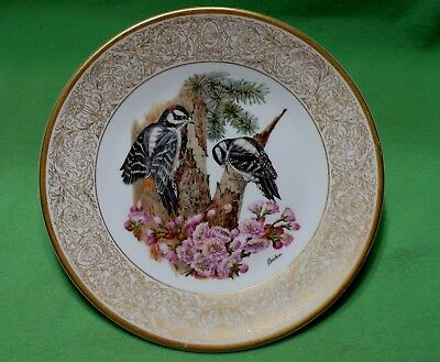 Vintage BOEHM Woodland Birds ' DOWNY WOODPECKERS & flowering Cherry ' plate.
