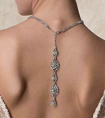 Backdrop Necklace, Swarovski Crystal, Vintage Inspired, For Wedding, Bride
