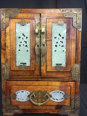 Vintage 1930's Era Cherrywood Jewelry Chest with Etched Brass And Carved Jade