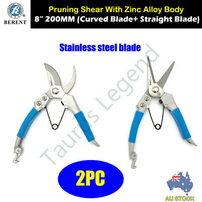"2PC 8"" 200mm Pruning Shear Set Flower Branch Scissors Stainless Steel Cutter"