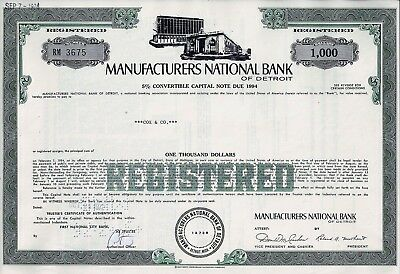 Manufacturers National Bank of Detroit, 1972, 5% Capital Note due 1994 (1.000 $)