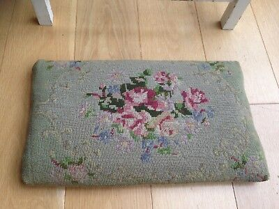 Antique Cross Stitch Stool Pad Vintage Duck Egg Pink Roses