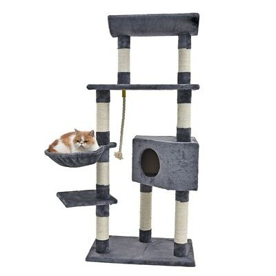 Cat Tree Scratcher Condo Post Composite Wood Gym Furniture Toy Jute Pink 87CM