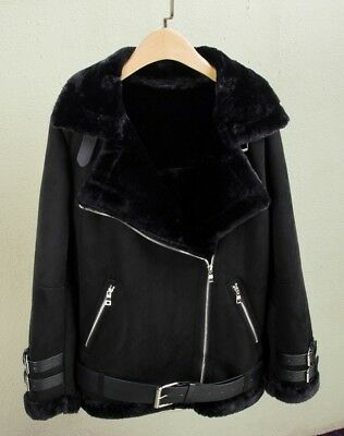 Oversized Faux Leather Fur Collar Lining Suede Black Biker Jacket