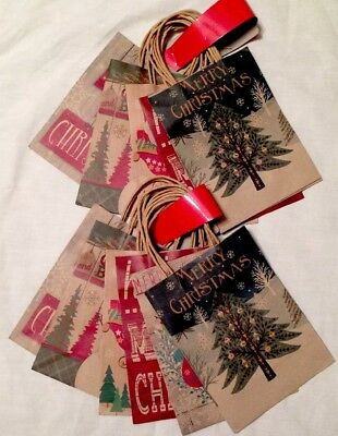 "Christmas Gift Bags, Lot Of 12, Lindy Bowman, 8"" x 3"" x 6"",  NEW"