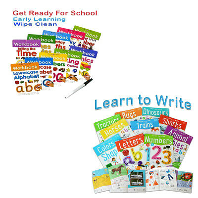 Wipe Clean and Learn to Write 10 Books Collection Pack SetWith Pen NEW Paperback