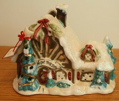 Sweet Blue Sky Clayworks Christmas Village Angel Tree Inn T Light House Goldminc