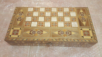 WOODEN 3 in 1 CHESS, CHECKERS and BACKGAMMON BOARD GAME