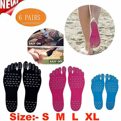 6 Pairs  Nake fit Sticker Shoes Stick on Sole Sticky Pads for Feet Beach Foot