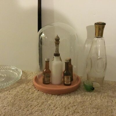 "Vintage CLOCK  Display GLASS CLOCHE DOME 11 1/2"" H CLAY BASE"