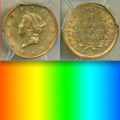 1849 No L PCGS AU 1,000 Minted SCARCE One-Year Type Coin! Gold Dollar $1