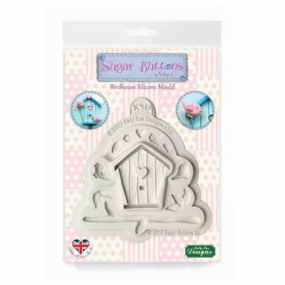 Sugar Buttons Cupcake Fondant Icing Embellishment Craft Mould - Birdhouse