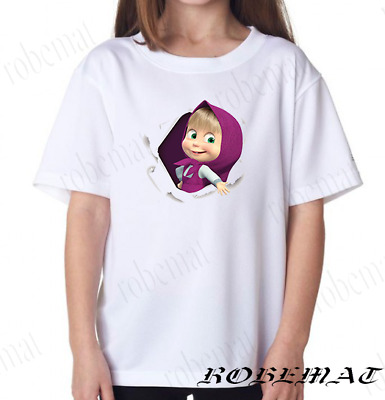 Personalised Childrens Girls Unisex Masha and Bear Birthday T-Shirt White