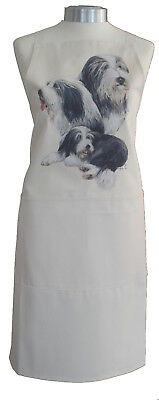 Bearded Collie Breed of Dog Cotton Apron Double Pockets UK Made Baker Cook Gift