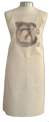 Brussels Griffon Breed Dog Cotton Apron Double Pockets UK Made Baker Cook Gift