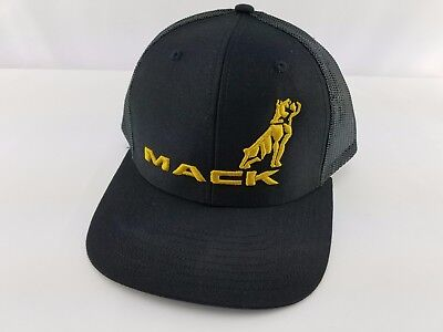 df1e90f3604 Mack Trucks Mesh Trucker Snapback Hat Cap Adjustable Logo Bulldog Curved  Bill