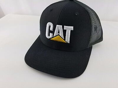 Caterpillar Gold Brown Dirty Wash Black CAT logo /& mesh Trucker Cap Hat Ballcap