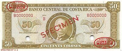 Costa Rica  50  Colones  ND.  P 232s Series B  Specimen Uncirculated Banknote