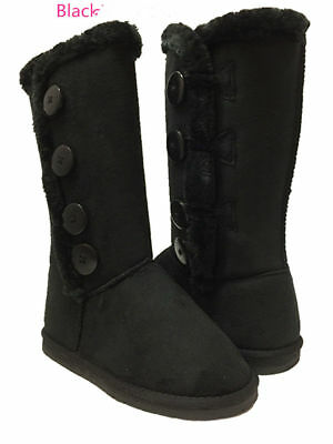 Girls Kids 4-buttons Comfort Fully Faux Fur Lining Clasic Winter Snow Warm Boots