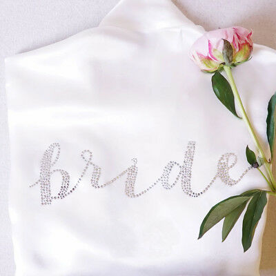 Bride Rhinestone Diamante Transfer Wedding Iron On Hotfix Crystal Robe DIY Prop