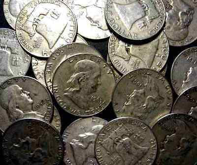 $10 Face = 1 Roll Franklin Silver Half Dollars  90% 7+ Ozs Free Shipping!