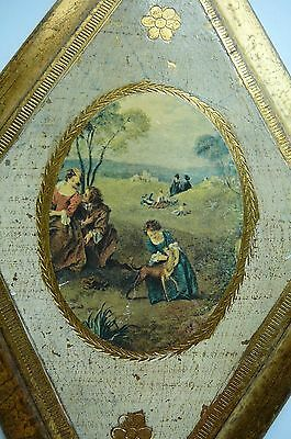 VTG  Wooden Florentine Wall Plaque-Victorian Scene-Gold Gilt - Italy