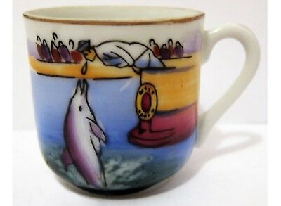 Dolphin Jumping Mini Cup - Handpainted Vintage Ew-3317 - Very Colorful