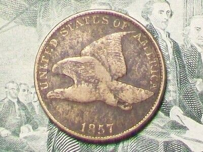 """NICE OLD ~ """"1857"""" ~ FLYING EAGLE CENT  (VG-F) ~ GREAT GIFT ~ BARGAIN PRICING!  a"""