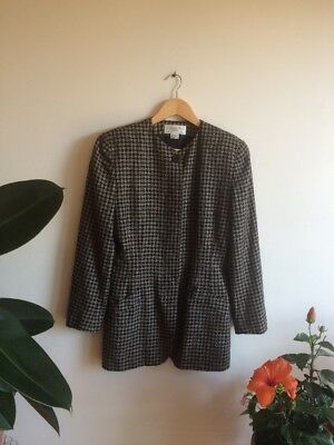 Vintage Authentic Christian Dior Houndstooth Blazer Jacket Size 10 Made in USA