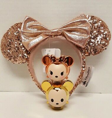 Disney Parks ROSE GOLD Minnie Mouse Ears  W/ NEW ROSE GOLD MINNIE LIP SMACKER