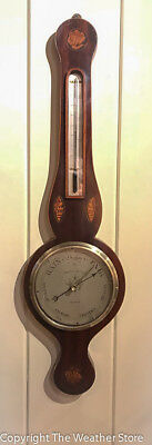 Antique English Round Top Wheel Barometer by Tognetti & Co.