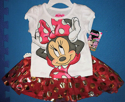 @*disney Minnie Mouse 2Pc Graphic T-Shirt & Gold Dots Skort/scooter*@2T 3T 4T 5T