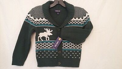 NEW with Tags Cherokee Boy's Green Moose 100% Cotton Cardigan Sweater Size 5T