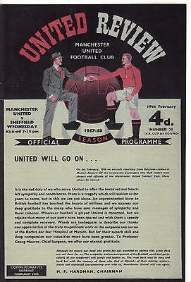 1957/58    Manchester United   v   Sheffield Wednesday  FAC 5  Reproduction  x 3