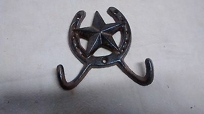 1 Cast Iron Rustic Ranch Star 2 Hooks Coak Hooks Rack Towel Horseshoe