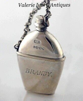 Victorian Sterling Silver Figural Perfume Scent Brandy Flask -  Birmingham 1888