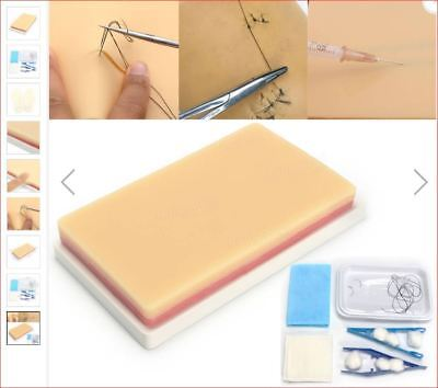Medical Suture Training Pad Skin Model, 3 Layers Student Practice Kit with veins